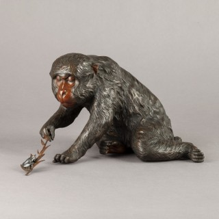 JAPANESE BRONZE OF A MONKEY AND A FROG