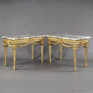 Pair of Louis XVI Style Carved Giltwood Console Tables