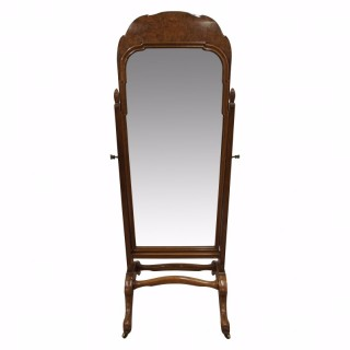 Whytock & Reid Walnut and Burr Walnut Cheval Mirror