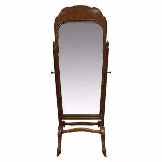 Whytock & Reid Walnut and Burr Walnut Cheval Mirror