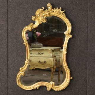 19th Century French Gilt Mirror In Wood And Plaster