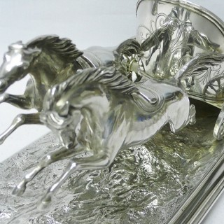 Antique Silver Model Chariot and Horses