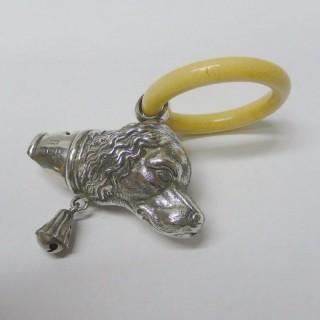 Antique Silver Dog Rattle and Whistle