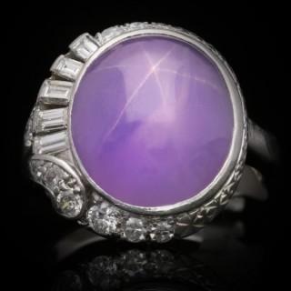 J. Milhening Inc. star sapphire and diamond ring, Chicago, American, circa 1935.
