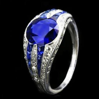 Art Deco sapphire and diamond ring, circa 1925.