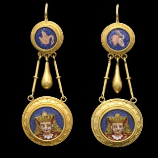 Egyptian Revival micro-mosaic ear pendants, French, circa 1870.