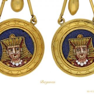 Egyptian Revival micro-mosaic ear pendants, French, circa 1870.