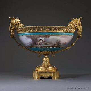 Sèvres-Style Gilt-Bronze Mounted Porcelain Coupe