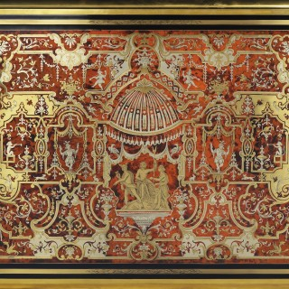 Louis XIV Style Cut Brass and Tortoiseshell Inlaid Ebonised Boulle Bureau Mazarin