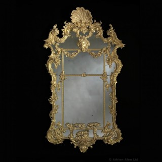 Large Carved Giltwood Rococo Mirror