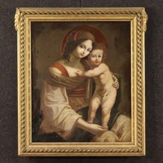 18th Century Italian Painting Virgin With Child