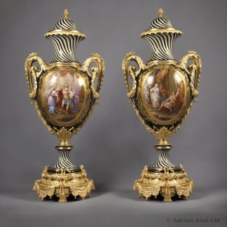 Pair of Sèvres-Style Porcelain Vases and Covers