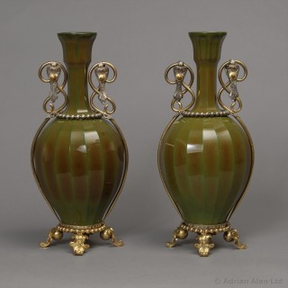 Pair Of Gilt-Bronze Mounted Lithyalin Green Glass Vases
