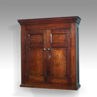 Large George III oak wall cupboard
