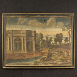 18th Century Italian Painting Landscape With Architecture