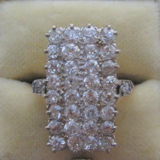 Diamond Panel 18ct Yellow Gold and Platinum Ring