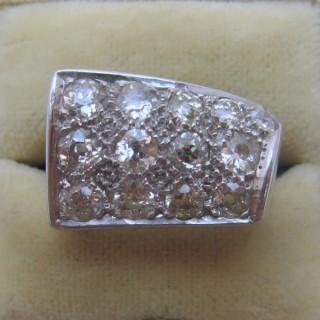 Vintage Abstract Diamond Panel Ring.