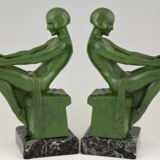 Art Deco Bookends With Reading Nudes.