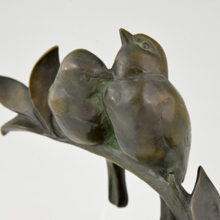 French Art Deco bronze sculpture of two love birds
