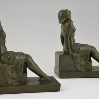 French  Art Deco bookends sitting nudes