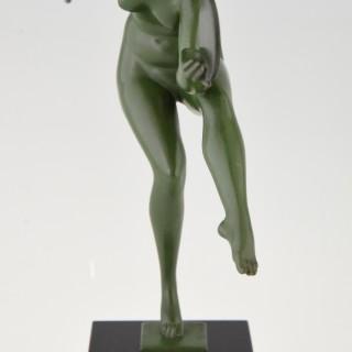 French Art Deco Sculpture Nude Disc Dancer