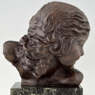 French Art Deco Bronze Bust Of A Girl
