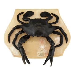 Antique bronze crab inkwell, 1900