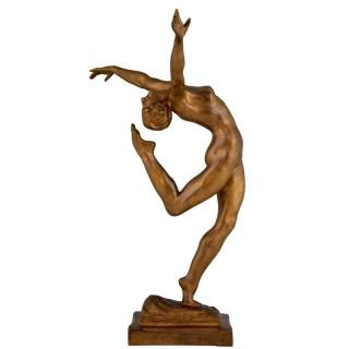 Art Deco Bronze Sculpture Of A Nude dancer.