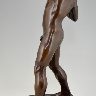 Antique Bronze Sculpture Male Nude Athlete