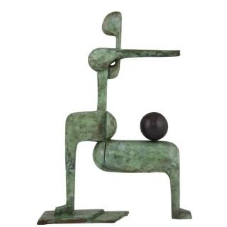Modern bronze sculpture, figure with ball.
