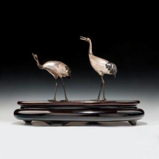 Taisho period silvered bronze storks