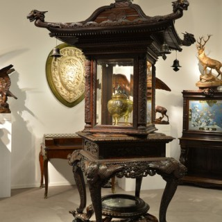 A rare and exceptional Meiji period hardwood exhibition display cabinet