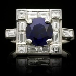 Art Deco Burmese sapphire and diamond cluster ring, circa 1935.