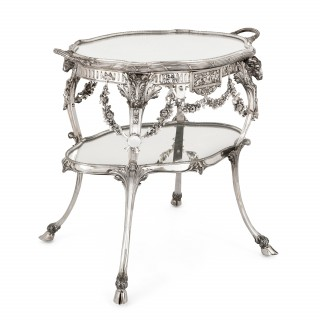 Solid silver Art Nouveau tea table by Schleissner & Sohne