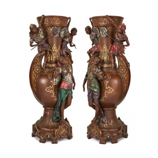 Large pair of Orientalist cold painted spelter vases signed 'L. Hottot'