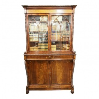 Scottish George IV Mahogany Inlaid Cabinet Bookcase