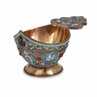 Russian silver gilt and cloisonné enamel kovsch