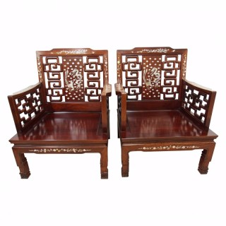 Pair of Chinese Mother of Pearl Inlaid Hardwood Armchairs