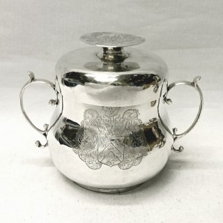 Antique Charles II Silver Porringer and Lid