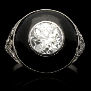 Art Deco diamond and black enamel ring, circa 1925.