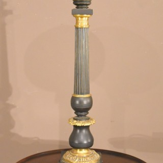 19th Century Bronze and Gilt converted Oil Lamp
