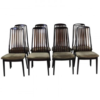 Set of Eight 1970s Rosewood High-Back Dining Chairs