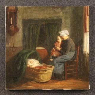 19th Century Dutch Painting Interior Scene With Children