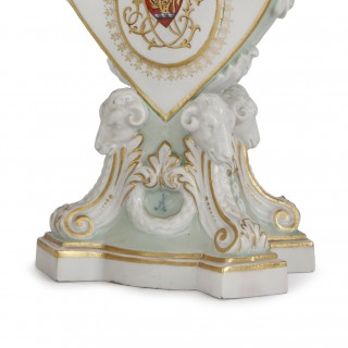 Pair of Meissen porcelain antique heart shaped candleholders