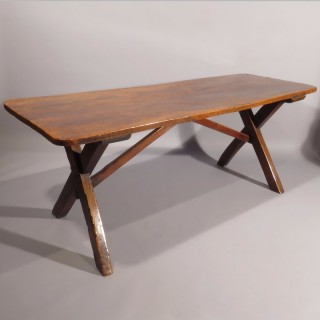 An Exceptional 18th Century Elm X-Frame Tavern Table