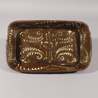 A Large 19th Century North Country Slipware Roasting Dish