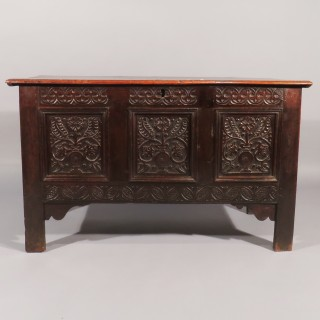 A 17th Century Three Panel Carved Oak Coffer