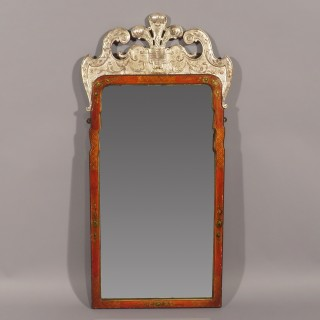 An Early 20th Century George I Style Red Lacquer Mirror