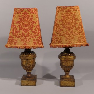 A Pair of Large 18th Century Italian Carved Giltwood Lamps