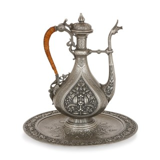 Finely engraved antique pewter ewer and basin by J. Brateau